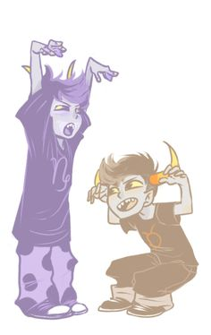 Ok , so is this showing that Gamzee is the HighBlood and Tavros is a low blood? | I love how the artist does their hair!