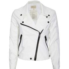 Pre-owned Current/elliott White Jacket ($182) ❤ liked on Polyvore featuring outerwear, jackets, white, current elliott jacket, white motorcycle jacket, moto jacket, white jacket and motorcycle jacket