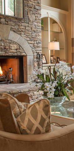 great fireplace and bookcase with the matching arches Home Fireplace, Fireplace Design, Fireplace Mantels, Stone Fireplaces, Brick Fireplace, Fireplace Ideas, Custom Curtains, Hearth And Home, Home Living Room