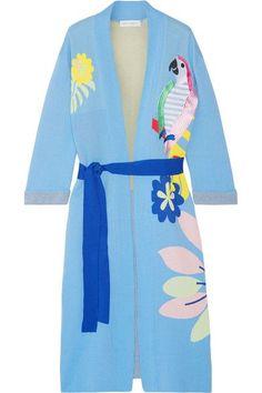 Mira Mikati - Appliquéd Cotton-jacquard Robe - Sky blue - FR36