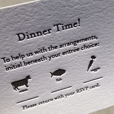 Wedding reply card with food choices farm animals pictures like this idea we will say lamb or fish or veggie and dietary requirements have stopboris Choice Image