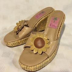 Lilly Pulitzer Sunflower Sandals Size 6.5M Adorable Lilly Pulitzer Leathet Sunflower Sandals. Wedge Heel. Size 6.5M. Some wear on soles. No trades Lilly Pulitzer Shoes Sandals