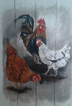 Haan en kippen op hout