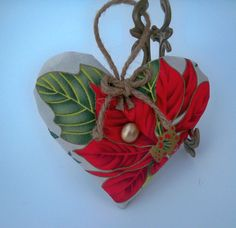 Poinsettia Lavender Heart; Holiday Sachet; Red, Green, Gold Organic French Lavender Pillow - Scented Home Decor, Teacher Gift $8.00