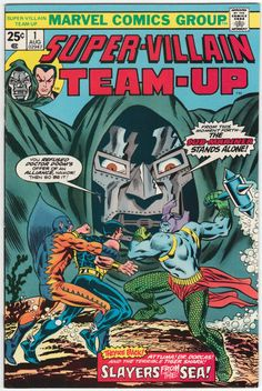 Super-Villain Team-Up #1 VF/NM+, Sub-Mariner and Dr. Doom begin, Bill Everett and George Evans interior artwork, Ron Wilson cover art. $52