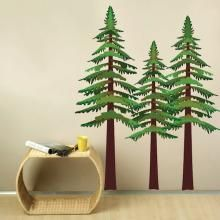 Pine tree fabric wall decals for kids