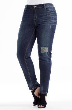 """Whisker Detail Jean - Dark Indigo Style No: Stretch light weight Denim straight leg Jean. This ankle length jean features a """"Rip"""" on one leg and subtle """"whisker"""" detail wash. Ankle Length, Indigo, Diva, Skinny Jeans, Plus Size, Legs, Detail, Pants, Style"""