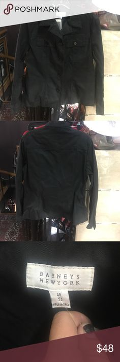 Barneys New York black denim trucker jacket Barneys New York black, denim, trucker jacket. Button closure. 100% cotton. Made in Italy. Like new! No flaws! The size is 14 but fits like a large so I sized it large. Barneys New York Jackets & Coats