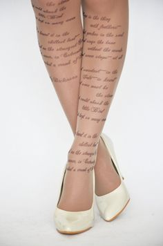 EMILY DICKINSON Hope Poem Printed Tights Moka by colinedesign