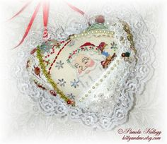 Christmas Hanging Heart Pillow Santa Crazy Quilt by Kittyandme, $29.00