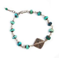 Bracelet with Turquoise and Thai Silver by DflyDesignsJewelry