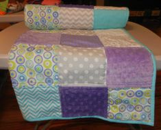 Handmade Baby Quilt, Lap Quilt, Throw, Aqua, Purple, Gray, White