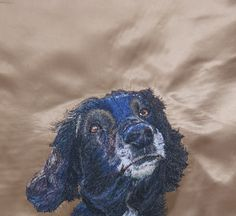 Bruce Freehand Machine Embroidery Portrait commission by Art Sea Craft Sea Freehand Machine Embroidery, Artist Workshop, Sea Crafts, Pet Portraits, Your Pet, Lion Sculpture, Statue, Pets, Creative