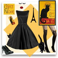 Chat Noir by modern-grease on Polyvore featuring modern grease clothing co hepburn dress in black