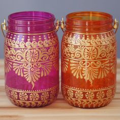 Bohemian Mason Jar Duo, Tangerine and Pink Tinted Glass with Gold Detailing
