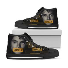 Michael Jackson Innocent Art High Top Shoes Limited Edition - Women, W Michael Jackson Outfits, Michael Jackson Merchandise, Michael Jackson Bad Era, Michael Jackson Youtube, Skull Shoes, Michael Jackson Wallpaper, Champion Shoes, Custom Shoes, Top Shoes