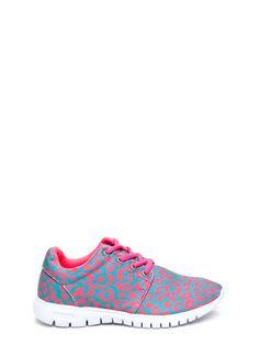 Sporty-Luxe Mesh Leopard Sneakers