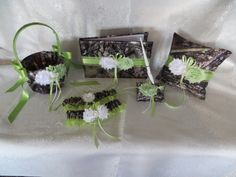Camo Wedding Set, Wedding Flower Girl Basket, Wedding Pillow, Wedding Guest Book, Pen and Wedding Garter, True Timber Green Camo Wedding Set by TheMomentWeddingBout on Etsy