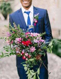 Red, pink and green bouquet: http://www.stylemepretty.com/little-black-book-blog/2014/12/23/elegantly-festive-tuscan-wedding-inspiration/ | Photography: Anthem - http://anthemphotography.com/