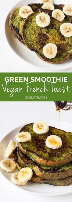 Green Smoothie Vegan French Toast via @ExSloth | ExSloth.com