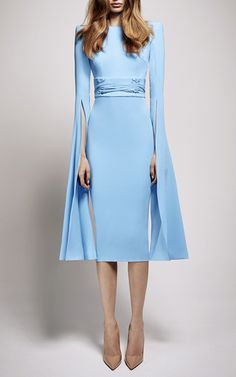 The Chloe Satin Crepe Long Sleeve Dress by ALEX PERRY for Preorder on Moda Operandi