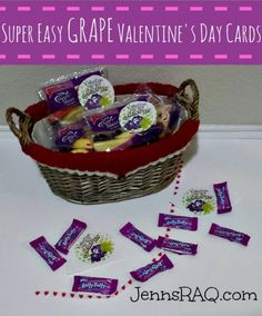 I know you're trying to decide if you have time to do some super crafty project for your child's Valentine's Day party, am I right?  This printable makes it so easy to just print, tape, and go!  This can be a healthy Valentine's Day card, or terrific on non-food items as well. Using anything grape …