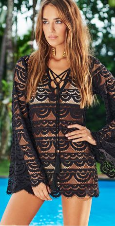 PilyQ Black Lace Noah Tunic is a long sleeve swimwear cover up with lace detail throughout. Pilyq, Beach Cover Ups, Romantic Lace, Sexy Shorts, Swimsuits, Swimwear, Cute Outfits, Tunic, Clothes