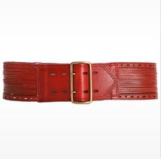 Linea Pelle - Sliced and Perforated waist belt in crimson