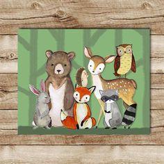 Woodland / Baby Gift / Nursery Decor / Shower Gift / Bear / Boho / Wall Art / Nature / Home Decor / Tribal / Fox / Deer / Bunny / Owl Woodland Creatures Nursery, Woodland Animal Nursery, Fox Nursery, Woodland Theme, Woodland Baby, Woodland Animals, Nursery Wall Art, Girl Nursery, Nursery Decor