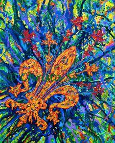 Fine art print fleur de lis painting giclee print by christasims, $38.00