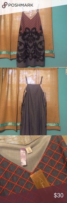 Brand new Francesca's dress Denim spaghetti strapped sun dress! Orange and Navy blue, perfect for summer! I got it for my birthday and it doesn't fit! Francesca's Collections Dresses Mini