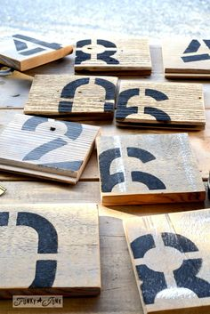 Reclaimed wood number coasters for serious coffee drinker junkers on FunkyJunkInteriors.net