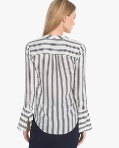 Women's Petite Evelyn Stripe Blouse by White House Black Market Blouse, Long Sleeve, Fabric, Sleeves, Model, Cotton, How To Wear, Black, Tops