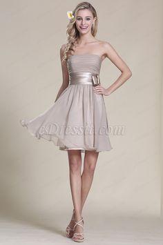 Trägerlos Grau Party Kleid Brautjungfern Kleid (07152108)