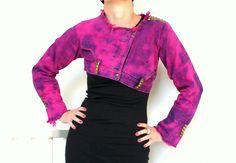 FLAMINGO studded jacket, women's fall fashion, one of a kind cropped denim jacket, size small S US 6, hot pink. $150.00, via Etsy.