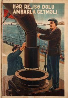 Oil Tanker Loading Baku Azerbaijan, 1936 - original vintage poster by Khusejinov listed on AntikBar.co.uk