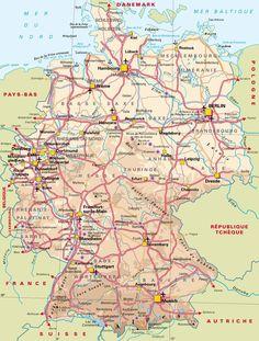 Article présentant une (ou plusieurs) carte de l'Allemagne. Vous pourrez trouver des informations complémentaire sur l'Allemagne pour préparer un voyage.