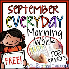 Morning Work, Daily Work, Homework - Common Curriculum Everyday (September) FREEBIE - The Barefoot Teacher Kindergarten Morning Work, Kindergarten Readiness, Kindergarten Classroom, Math Literacy, Early Literacy, Father's Day Activities, Classroom Activities, Classroom Ideas, September Activities