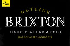 Brixton Outline + Extras! ~ Display Fonts on Creative Market