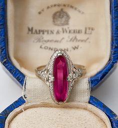 https://www.bkgjewelry.com/ruby-rings/118-18k-yellow-gold-diamond-ruby-ring.html Art Deco Ruby, 14K White Gold Filigree Ring / Antique Rings #ring #rings #jewelry