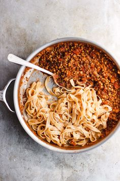 Meatless Bolognese Sauce with Mushrooms + Lentils