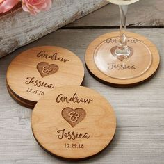 Rustic Wedding Party Favors Personalized Coasters These Rustic Engraved Wood Coasters are gorgeous! These personalized coasters can be engraved with any 2 names and date - they make a great wedding gift idea or wedding favor idea! Creative Wedding Favors, Inexpensive Wedding Favors, Elegant Wedding Favors, Edible Wedding Favors, Great Wedding Gifts, Wedding Favors For Guests, Wedding Ideas, Fall Wedding, Wedding Reception