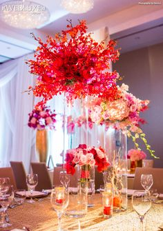 WedLuxe: dreamy #wedding filled with romantic red floral and decor inspiration. Photography by Ikonica.