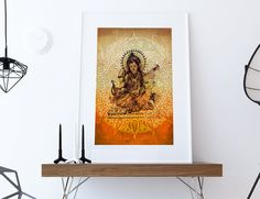 Hindu Godess Saraswati Print Vintage Hindu Decor by WeLoveCMYK