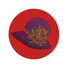 Purple Hat Classic Round Sticker - craft supplies diy custom design supply special