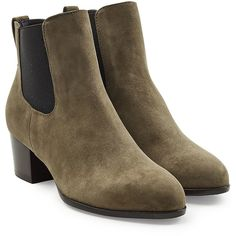 Hogan Suede Ankle Boots ($270) ❤ liked on Polyvore featuring shoes, boots, ankle booties, green, suede ankle bootie, short suede boots, short boots, suede ankle booties and block heel booties