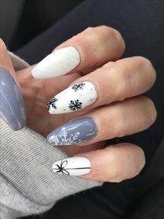 Snowflake Christmas nail art