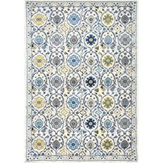 Stylishly anchor your living room seating group or define space in the den with this artfully crafted rug, showcasing an ogee-inspired design with floral acc...