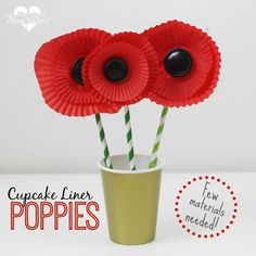 Easy Cupcake Liner Poppy Craft