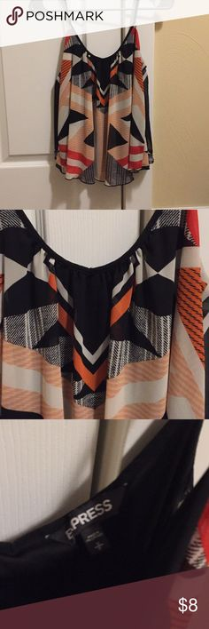 Patterned Express Tank Express tank. Size small. Red and orange with black pattern. Flowy style. Express Tops Tank Tops